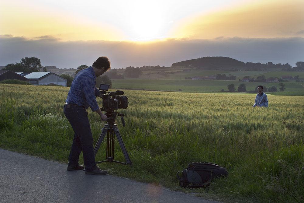 Filming Zhang Yan in Belgium